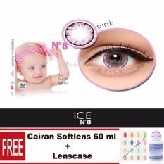 Diskon X2 Ice N*d* N8 Softlens Pink Free Lenscase Cairan 60Ml Branded