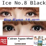 X2 N8 Ice N*d* Softlens Black Gratis Cairan Softlens 60Ml Lenscase Asli