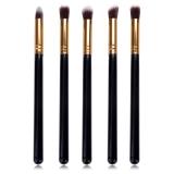 Cuci Gudang Yika 5 Pcs Eyeshadow Sikat Panjang Blusher Alat Makeup Kosmetik Set Emas