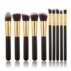 Jual Yingwei Wanita 10 Pieces Makeup Brush Wajah Alat Kecantikan Hitam Emas Yingwei Ori