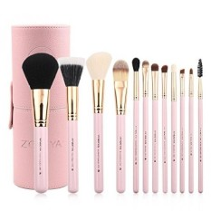 Zoreya Travel Makeup Brush Set 12pcs Pink Makeup Brushes Professional Foundation Powder Contour Blush Eye Cosmetic Brush Sets Wi