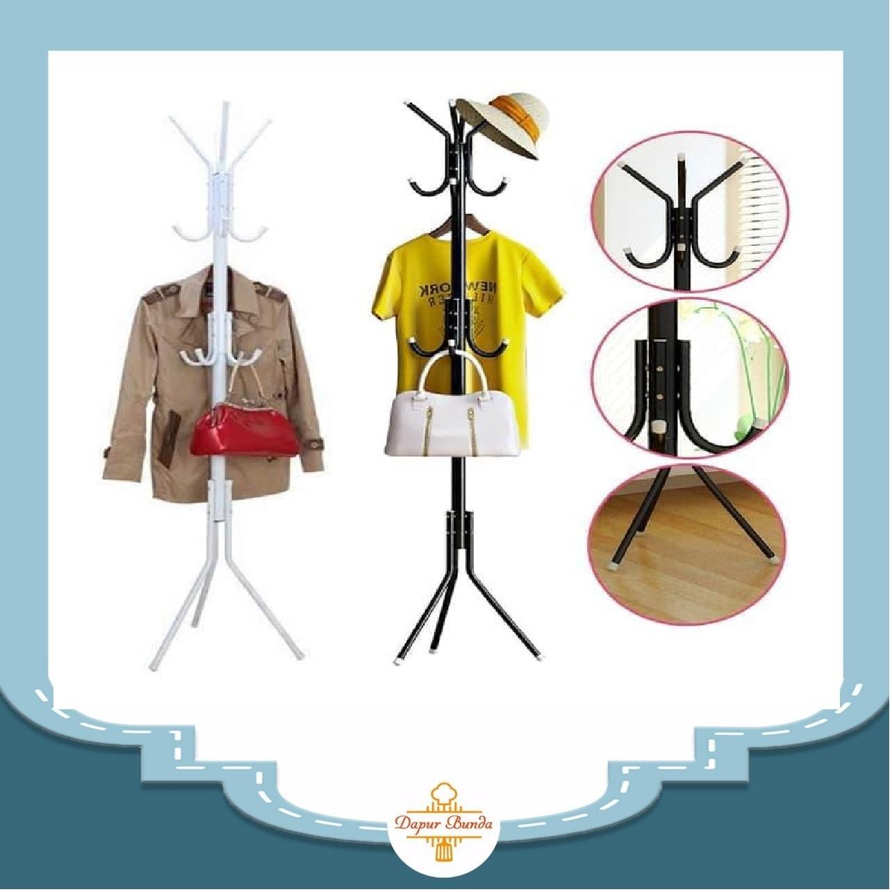 DapurBunda PRN20 Stand Hanger / Gantungan Tiang Berdiri / Hanger Gantungan Baju Tas Berdiri - PUTIH