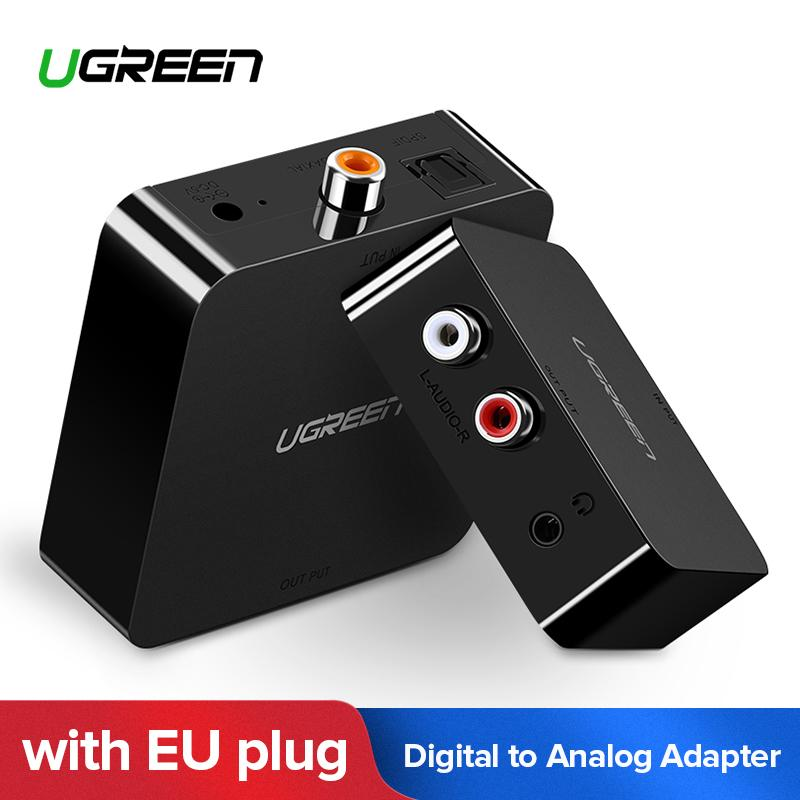 UGREEN Digital to Analog Audio Converter, DAC, Digital Coaxial and Optical Toslink to Analog 2RCA RCA L/R and 3.5mm Audio Converter Adapter, 5V Power Adapter Included -EU Plug(Black)