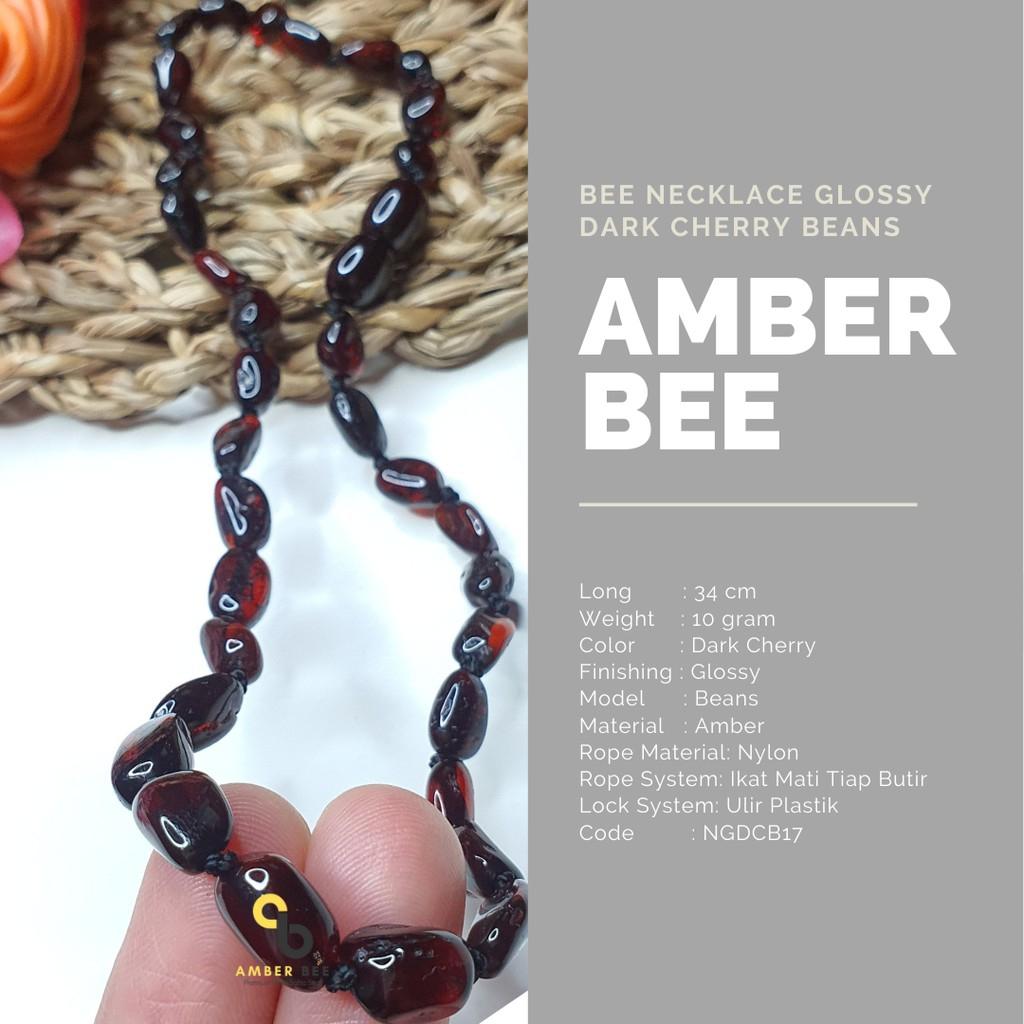Kalung Amber Anak Premium Glossy Dark Cherry Beans NGDCB17 By Amber Bee