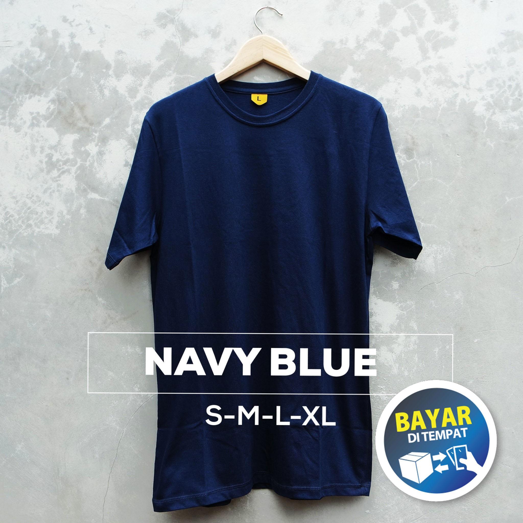 Baju Kaos Polos Lengan Pendek Biru Dongker Cewek Cowok Blue Navy Unisex Lazada Indonesia