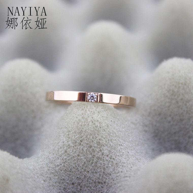 Baik berlian cincin perempuan Jepang Korea orang trendi Murid minimalis cincin kepribadian cincin kelingking baja titanium