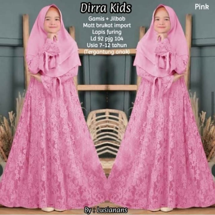 Dirra Dress Brukat Kids Syari Baju Muslim Anak Baju Anak Perempuan Gamis Anak Anak Dress Anak Baju Gamis Syari Anak Usia 7 10 Tahun Baju Gamis Syari Anak