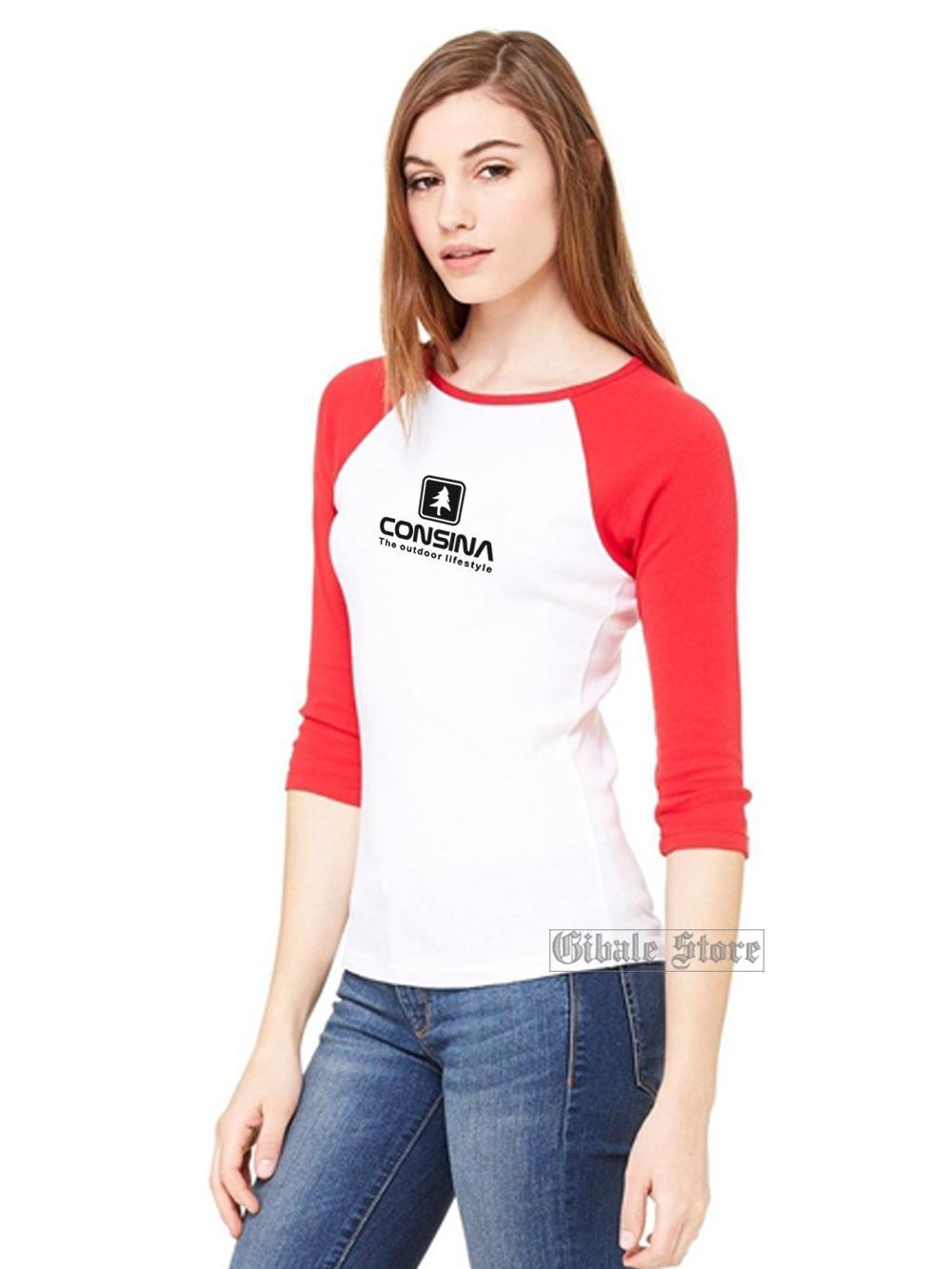 Gibale Store - Kaos Polos Wanita / Kaos Raglan / Kaos Olahraga - Consina Outdoor Style / Kaos Warna Hitam - Biru Dongker - Marun - Putih
