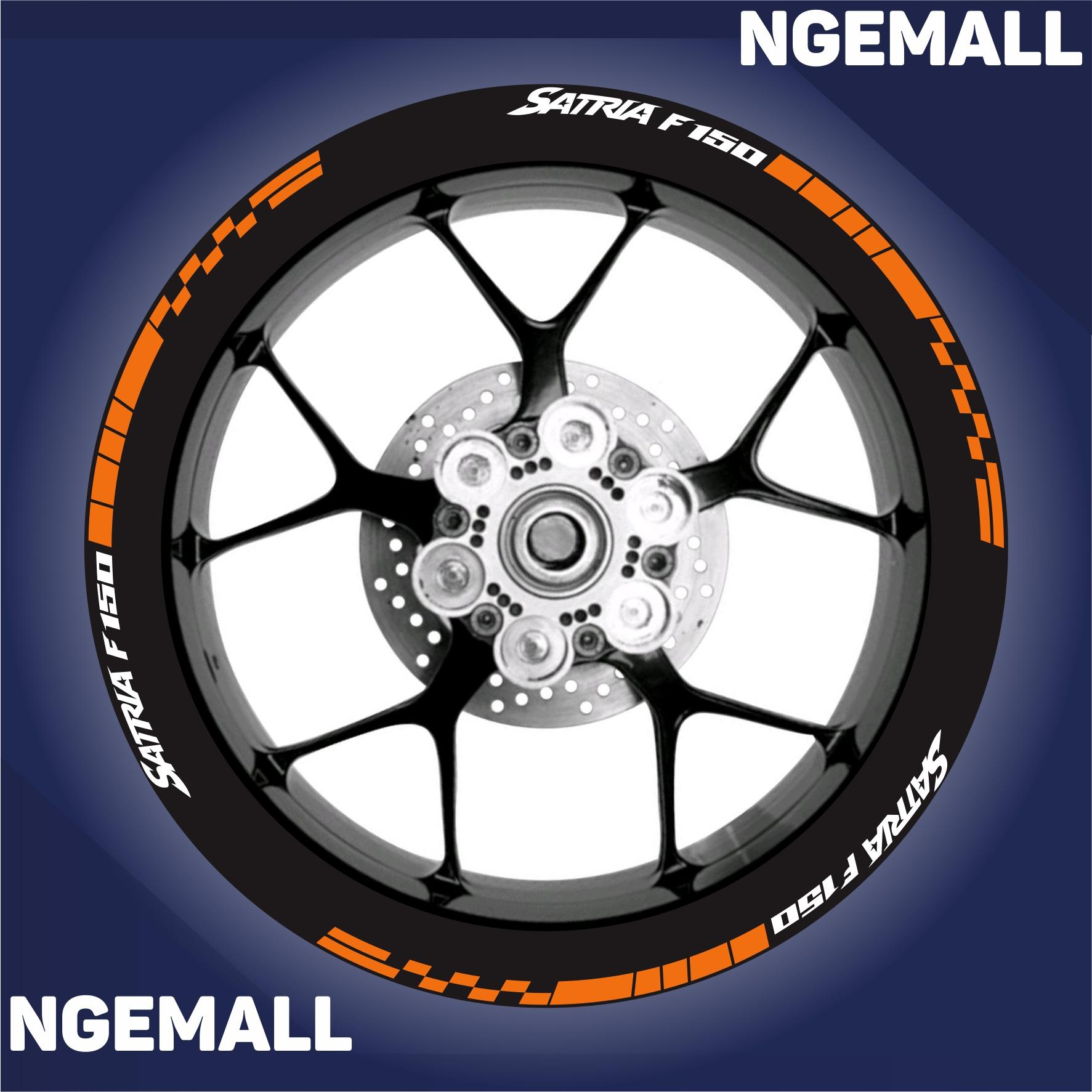 Ngemall - Aksesoris Motor Stiker Cutting 3 Velg Suzuki Satria - Orange Putih - Ngemall
