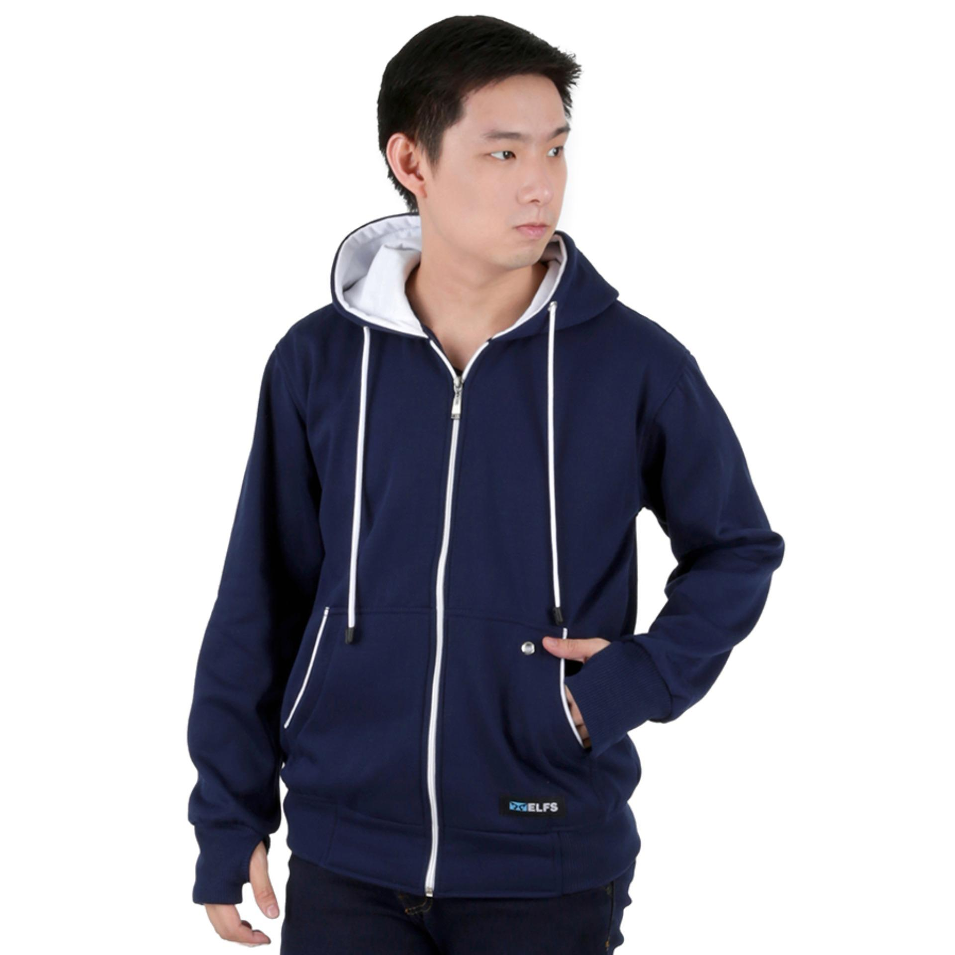 Elfs Shop - Jaket Sweater Hoodie List Pria Fleece By Elfs Shop.