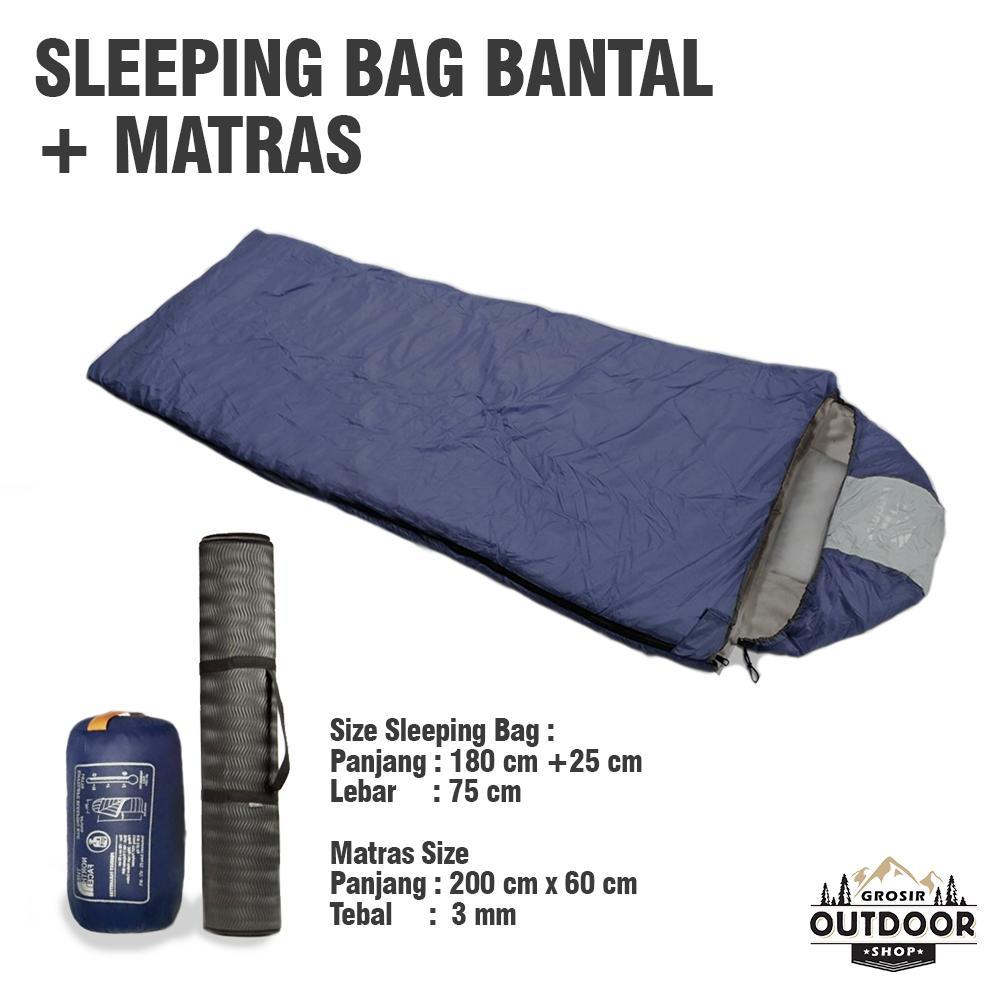 Paket Hemat - Sleeping Bag Bantal Ultralight Pus Matras Camping - Kantong Tidur / Kantung Tidur / Sleping Bag By Outdoor Grosir.