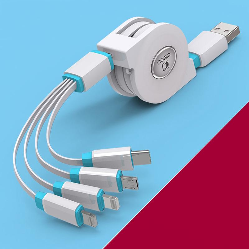 ROPPU 4 in 1 Cable for Type-C, Micro-USB, iPhone