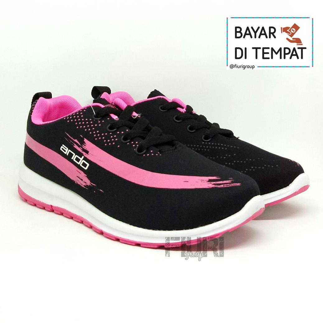 FIURI - ANDO Lindsey Original Black Pink - Sepatu Olahraga Lari Wanita -  Sepatu Sekolah - 1b70b54b14