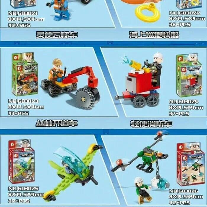 MAINAN LEGO BRICK SEMBO 603021-28 RESCUE TEAM MINI FIGURE 8 IN 1