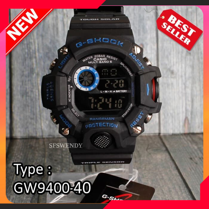Terbaru FOTO REAL !! G Shock GW-9400 Hitam Besi Jam tangan pria & anak digital
