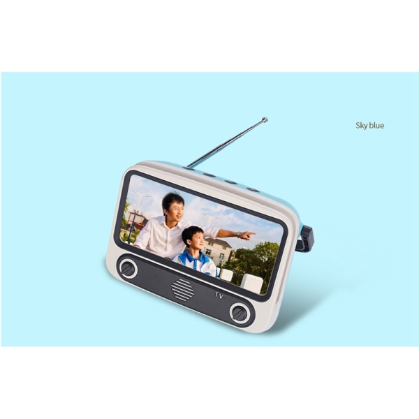 Retro Mini Bluetooth Speaker Mobile Phone Movies TV Holder Music Player Portable Wireless Sound Box for U Disk TF Card-Blue Malaysia