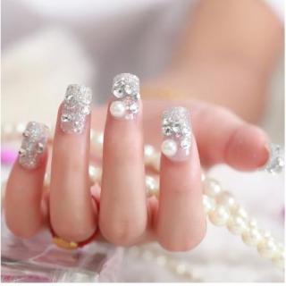 nail art - 24 pcs kuku palsu silver bertabur mutiara cocok u wedding bridal pengantin thumbnail