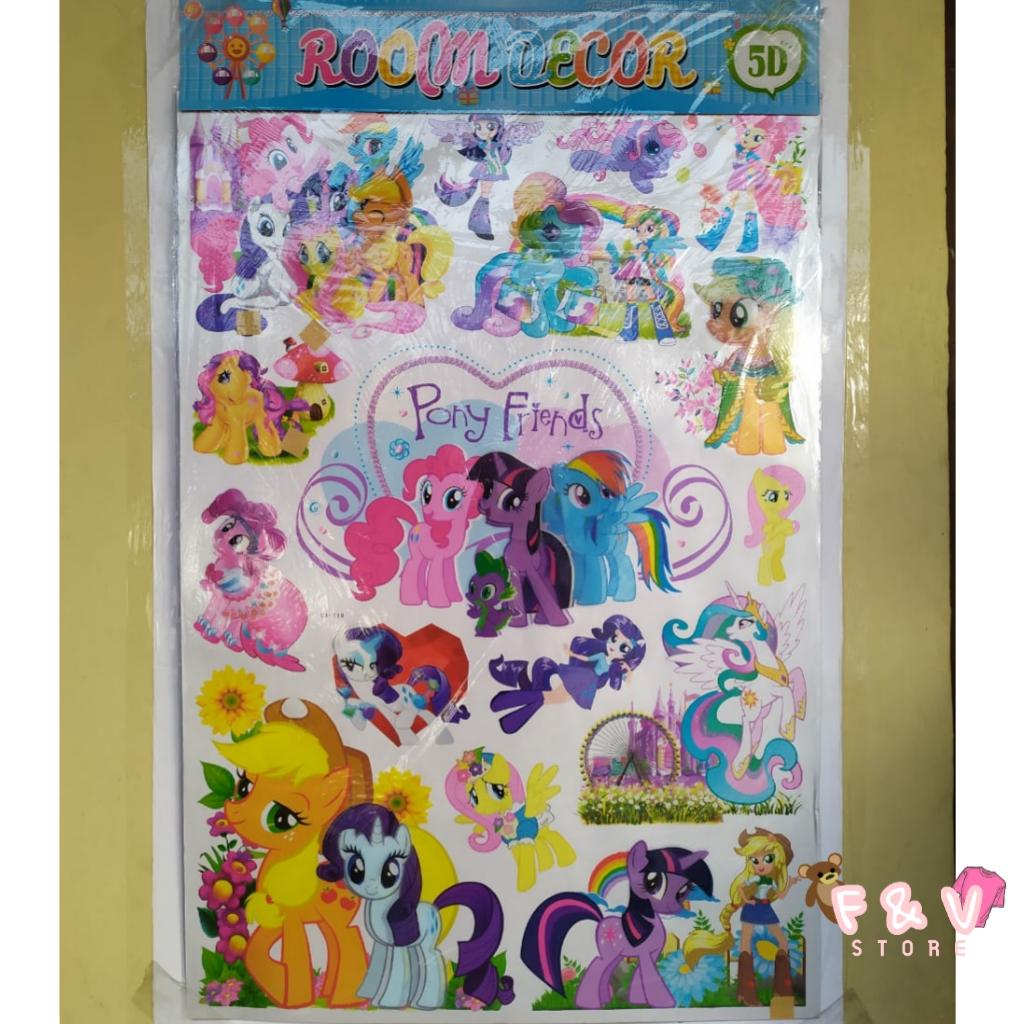 F V Sticker Dinding Pony Friends 5d Dekorasi Room Kamar 5d Wallpaper Dinding Terbaru Lazada Indonesia