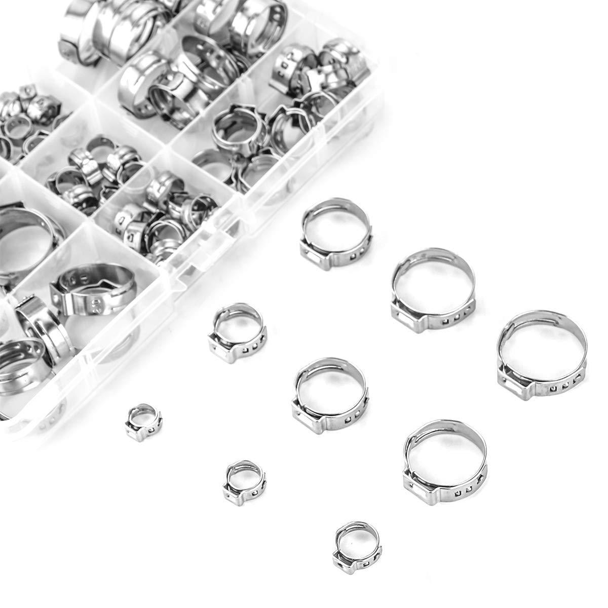Stainless Steel Single Ear Hose Clamp, 80Pcs 6-23 6mm Crimp Hose Clamp  Assortment Kit Ear Stepless Cinch Rings Crimp Pinch Fitting Tools (1/4 Inch  -