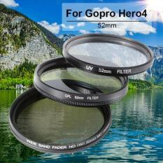 52MM UV + CPL + Adjustable ND2-400 Filter Lens for Gopro Hero4 Session DC704