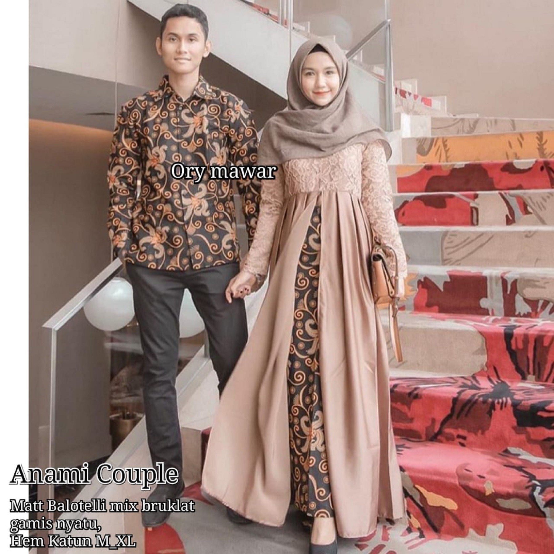 """Shaqeera-Batik Sarimbit Kebaya Kondangan Couple Keluarga Modern Baju Muslim  Pria Wanita Murah Terbaru 10 """"Anami Couple"""""""