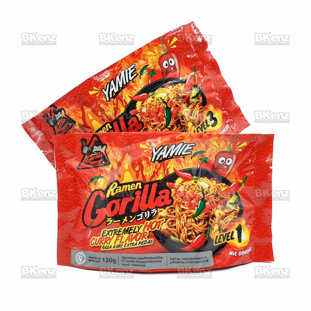Paket Isi 2 Ramen Gorilla Goreng Yamie Kari Super Pedas Super Spicy Instant Noodle Mie Instan Saingan Samyang Mix Level 1 & 3