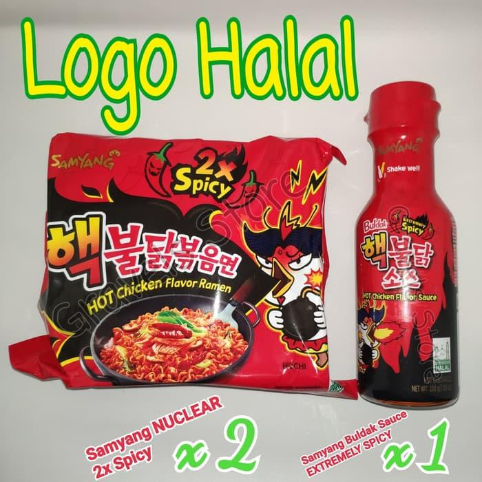Logo HALAL - Samyang NUCLEAR X EXTREMELY SPICY Sauce - Saos - Saus 2x