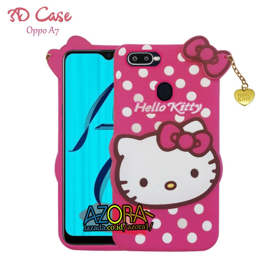 3D Case Oppo A7 2018 ( 6.2 inch ) Softcase 4D Karakter Boneka Hello Kitty Poolkadot