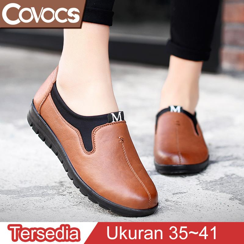 COVOCS Sepatu Flat Wanita Terbaru Termurah Loafers Kulit Fashion Korea Kasual Sepatu Flat Kantor Resmi Nyaman Sepatu Kerja Kantor Wanita Ukuranbesar 40/41