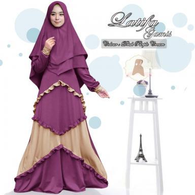 Baju Gamis India Wanita Latifa Syari Purple