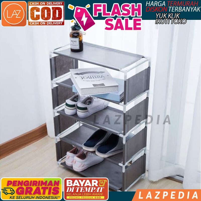 BAYAR DITEMPAT - [MOTIF POLOS 5 SUSUN] Rak Sepatu POLOS 5 SUSUN / Rak Sepatu POLOS / Rak Sepatu 5 Susun / Tempat Penyimpanan Sepatu - A1256