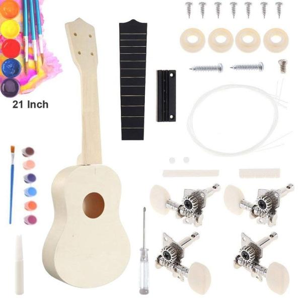 23 Inch Ukulele DIY Kit Hawaii Guitar Ukelele Handwork Support Painting Kids Children Toys Assembly for Beginner Malaysia