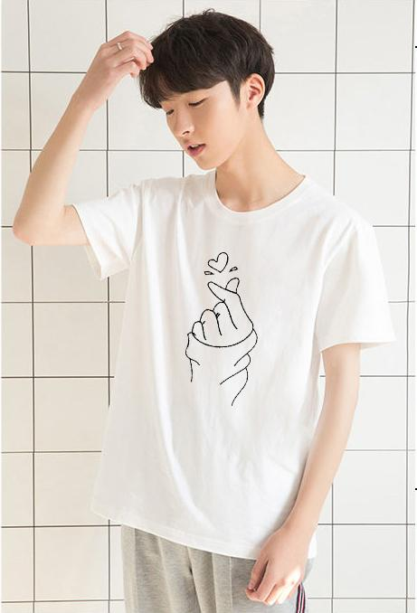 Jual Murah Kaos Oblong - PROMO Baju Pria Lengan Pendek Simpel Saranghae Tumblrtee Warna Putih