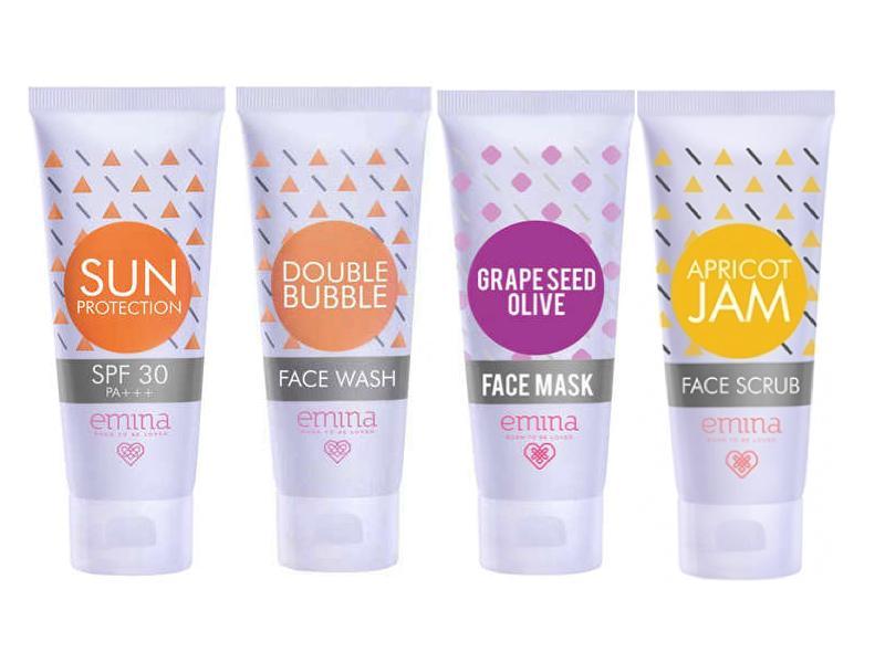 Paket Emina Sun Protection SPF 30 + Double Buble Face Wash + Grape Seed Olive Face Mask + Apricot Jam Face Scrub - 4 pcs