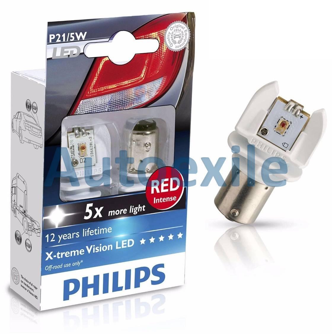 Philips Xtreme Vision LED S25 P21/5W 12V Red Merah Lampu Rem Motor Mobil X-treme