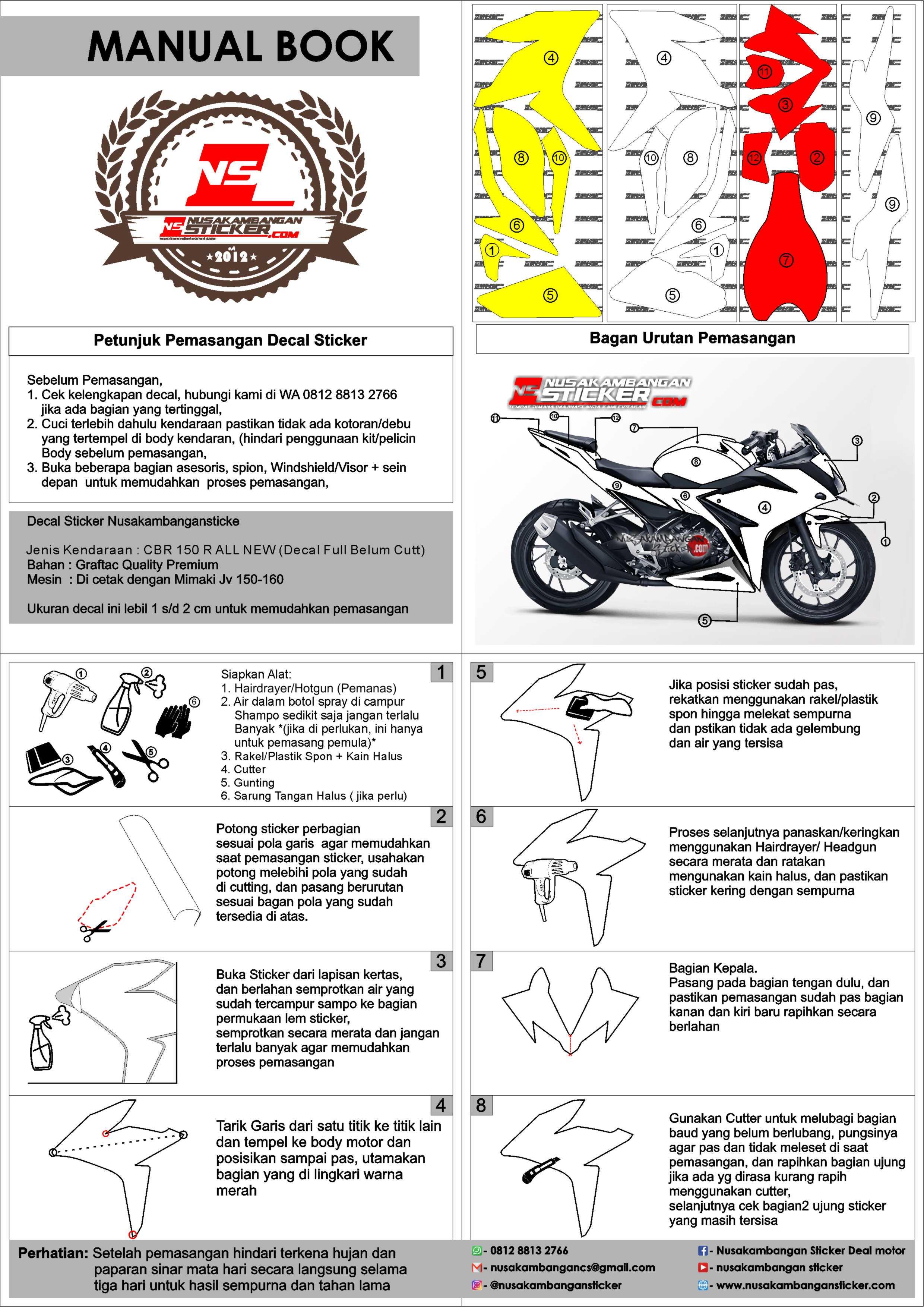 Decal Stiker CBR 150 R All New HRC Merah Nusakambangan Sticker