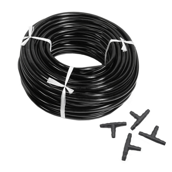 20m 4/7mm Hose Garden Water Micro-Irrigation Pipe With 20 Pcs Tee Connectors Gardening Lawn Agriculture Sprinking Drip Tube