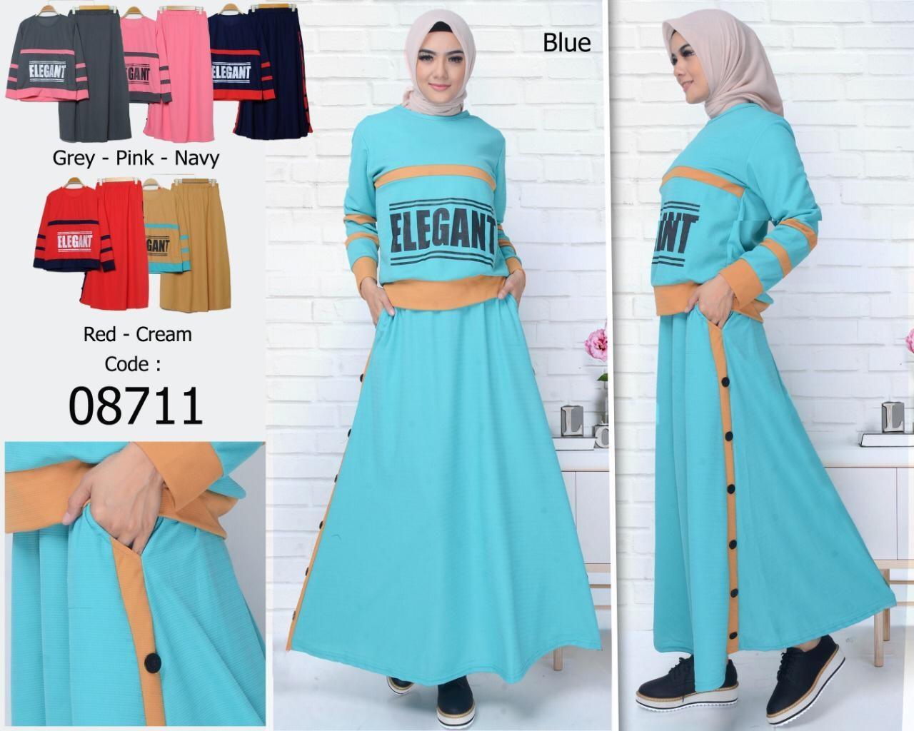 STELAN GAMIS ST08711 / set wanita / baju muslim / atasan muslimah / rok wanita / atasan wanita / kemeja / tunik / dress / jumpsuit
