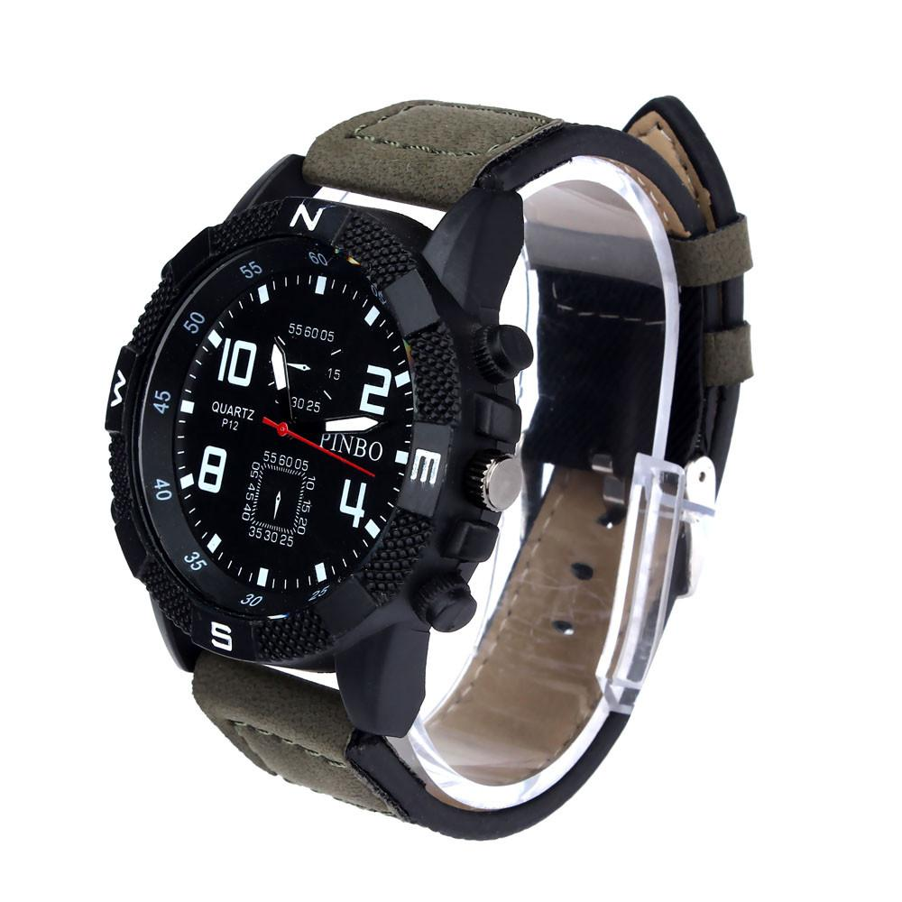ALEX online shopping accessorize your out fit happy hobbies must have keep running new arrival latest trends best pick Mewah Pria Kanvas Tali Besar Dial Olahraga Militer Kuarsa Jam Tangan Hijau