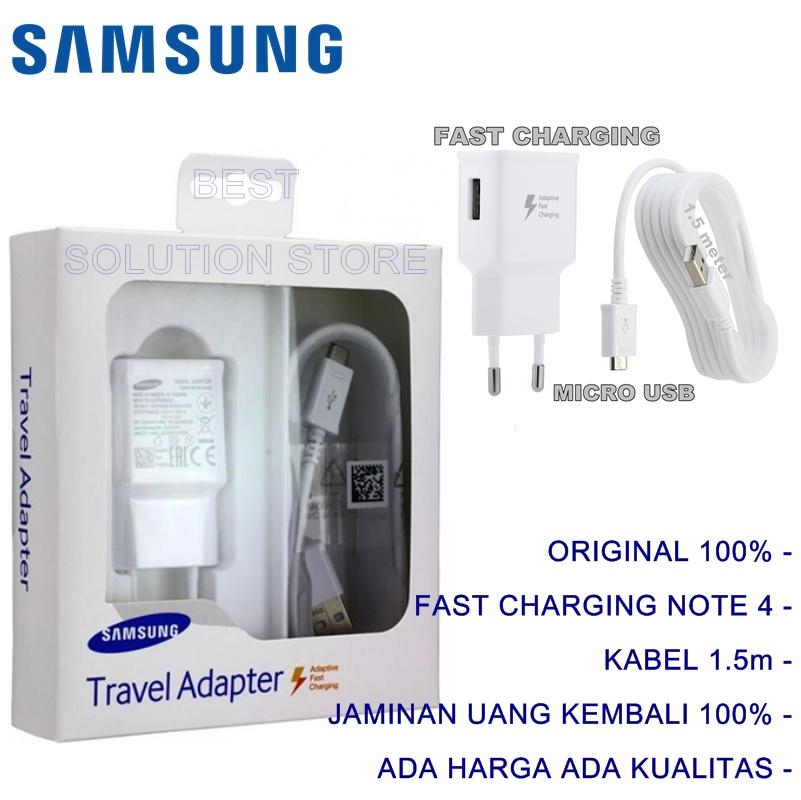 Samsung Original 100% Authentic Travel Adapter Charger / Casan / Carger 15W Adaptive Fast Charging Output 2.0Ampere USB 3.0 for Samsung Galaxy S4 / S5 / S6 / S7 / Edge / Note 4 / Note 5 - Putih
