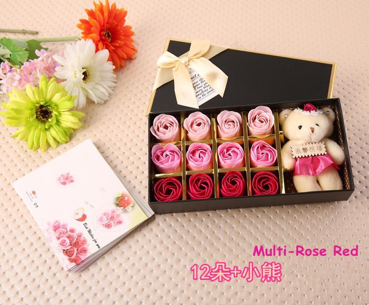 Hadiah Romantis Set 12 Buah Mawar Bunga Sabun With Beruang Lucu Yang Dapat Membuat Orang Yang