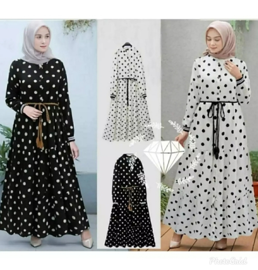 Gamis Polka Dot / Long Dress Wanita / GAMIS TERBARU / Baju Wanita / Baju  Gamis Wanita Terbaru 9 / Baju Kondangan Wanita / GAMIS WANITA MODERN