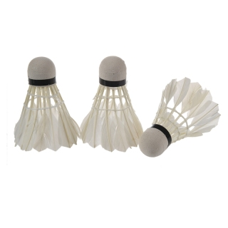 White Goose Feather Badminton Shuttlecock 3pcs W Carboard Cylinder thumbnail