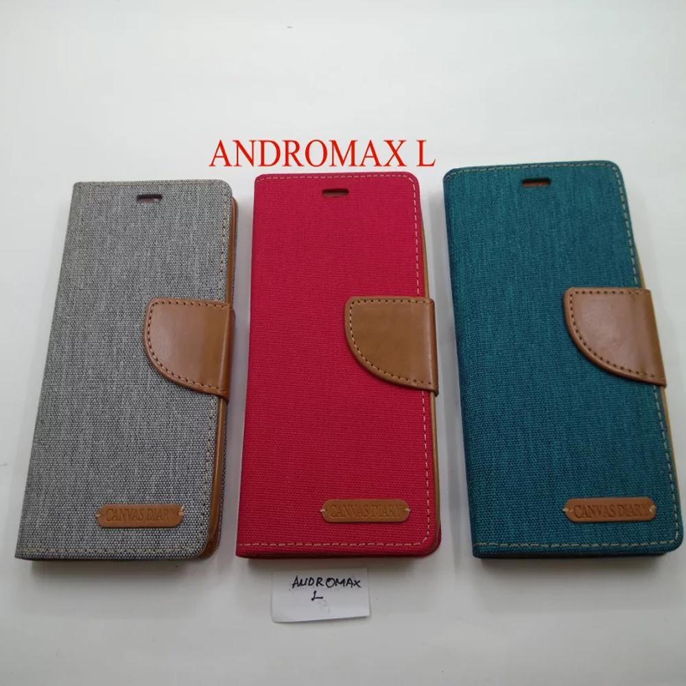 Aimi Ume Canvas Diary Smartfren Andromax L Flipshell Sarung Case Dompet Andromax L / Leather Case