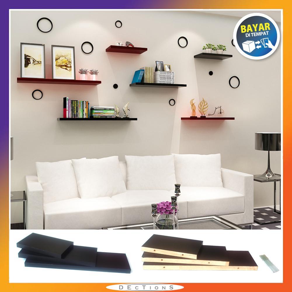 Promo Set 6 Buah Floating Shelves / Ambalan / Rak Dinding Minimalis [40cm / 30cm / 20cm] - Hitam Putih