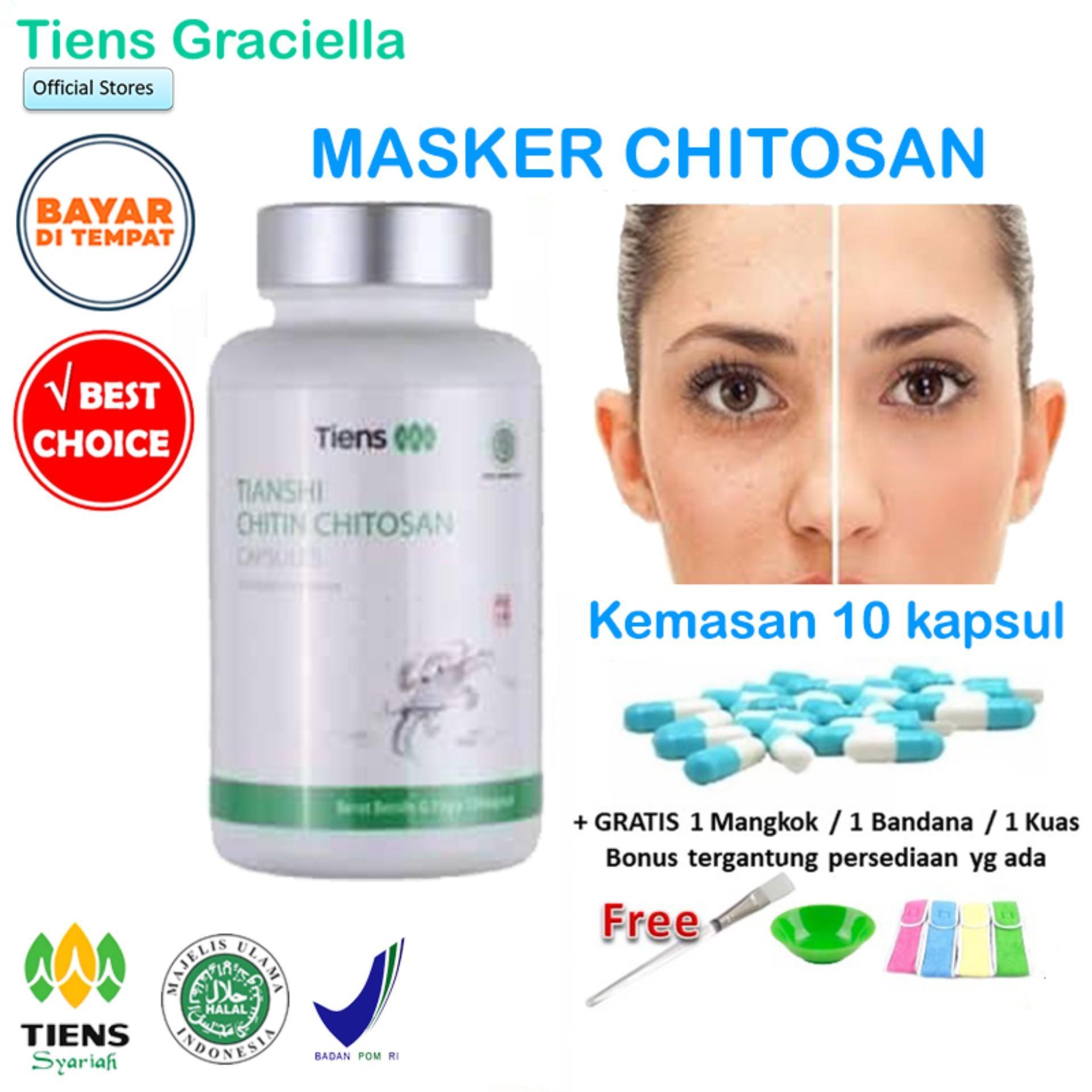 Tiens Chitosan Masker Anti Jerawat - Paket Promo Banting Harga 10 Kapsul + 1 GIFT +