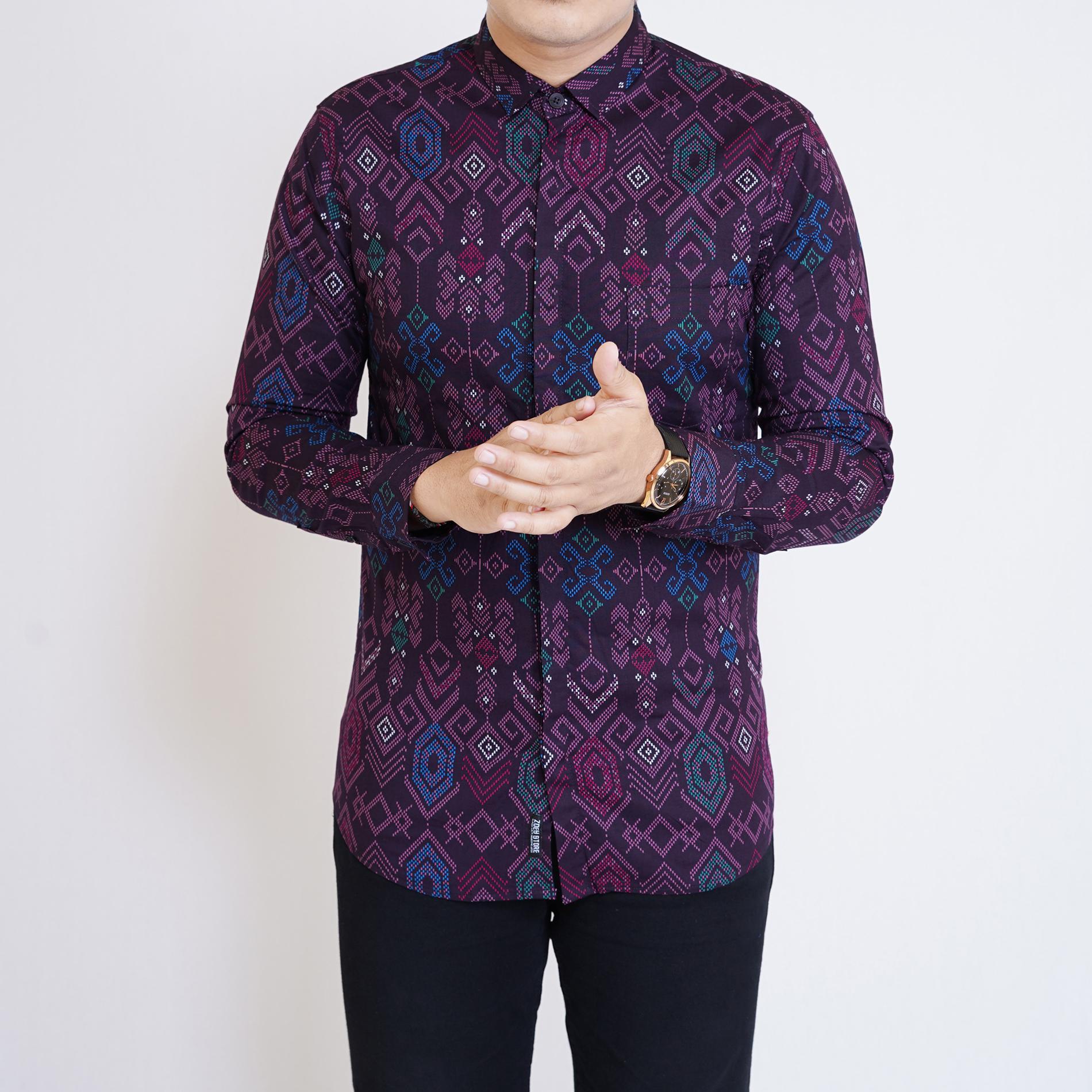 Zs Fashion 6423 Kemeja Batik Pria Lengan Panjang Kemeja Batik Cowok Kerja Kantoran Kemeja Formal Batik Stretch Purple