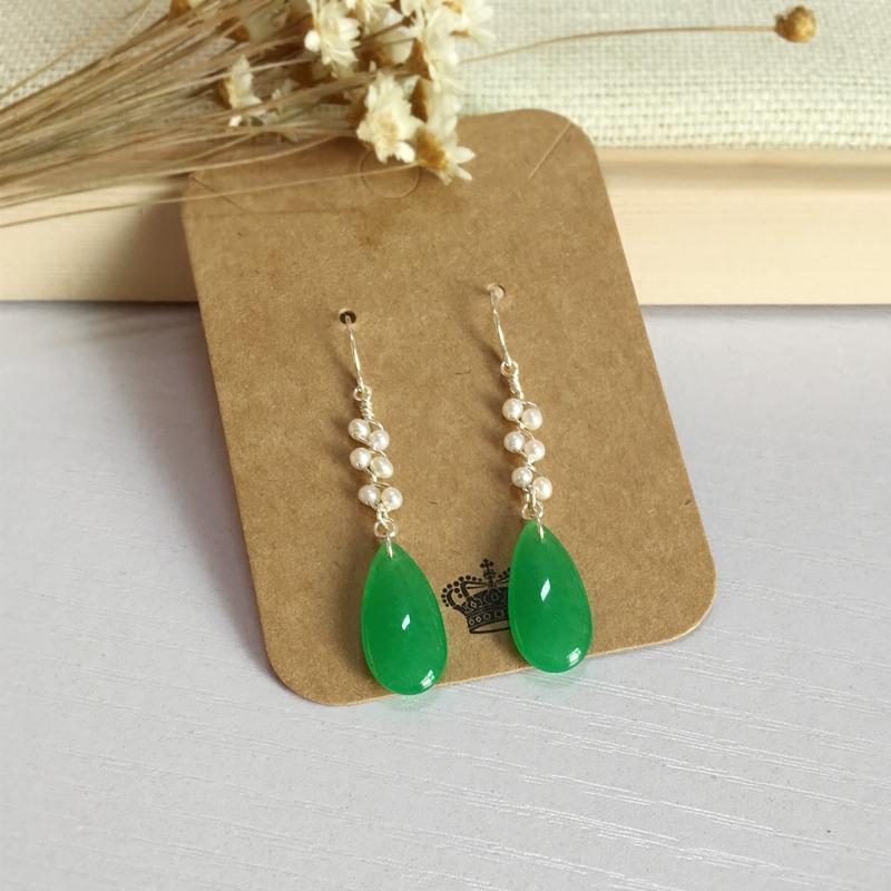 Melayu giok alami mutiara warna hijau Tetesan Air panjang Anting-anting anting-anting Perak