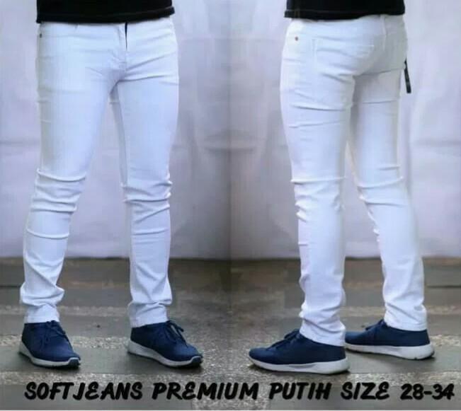 Celana Jeans Skiny Putih Pria