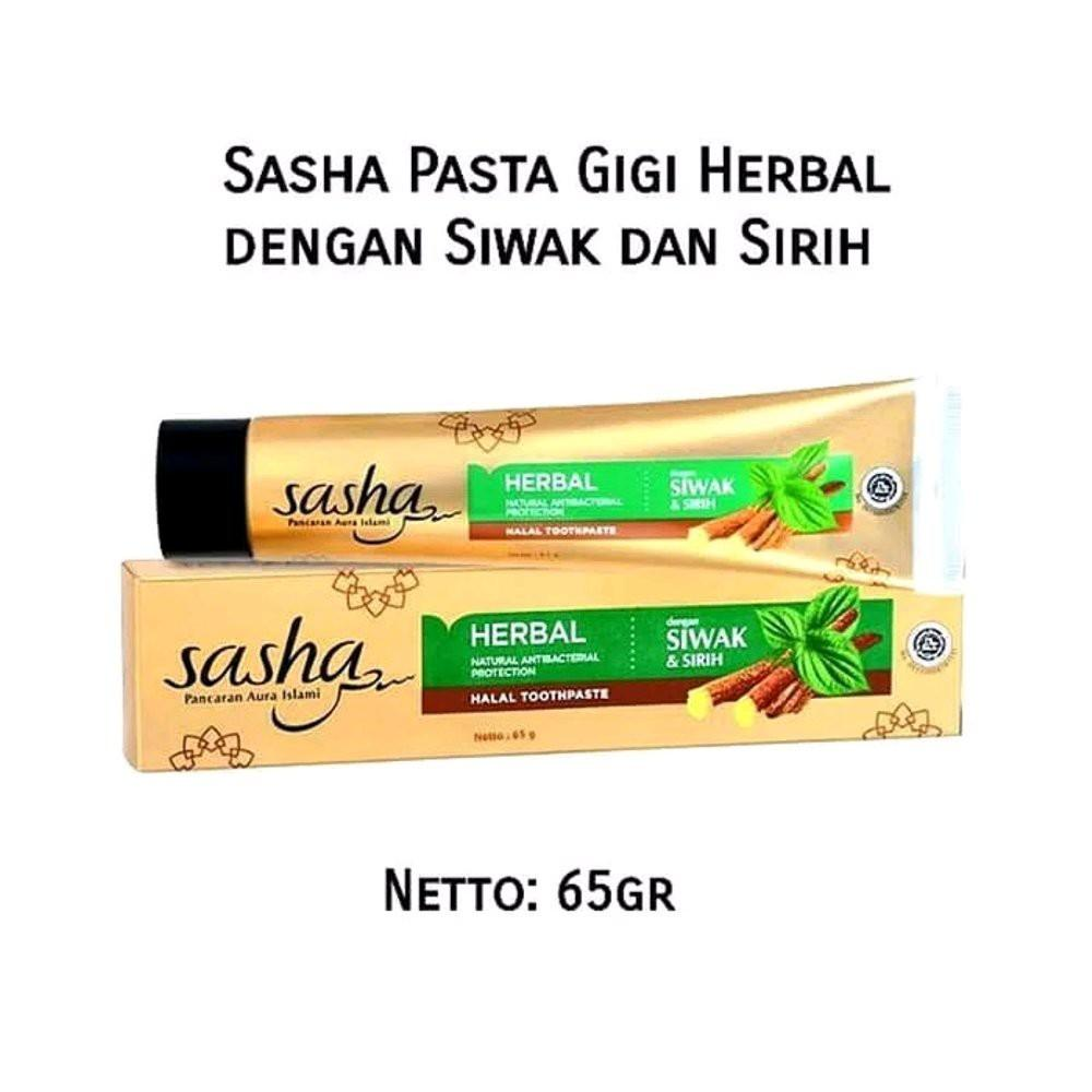 Sasha Toothpaste/pasta Gigi Siwak Halal Anti Bacterial Isi 65 Gram By Beauty Lover.